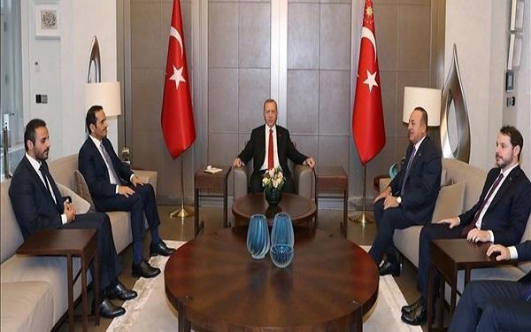 دیدار وزیرخارجه قطر با اردوغان و چاووش اوغلو