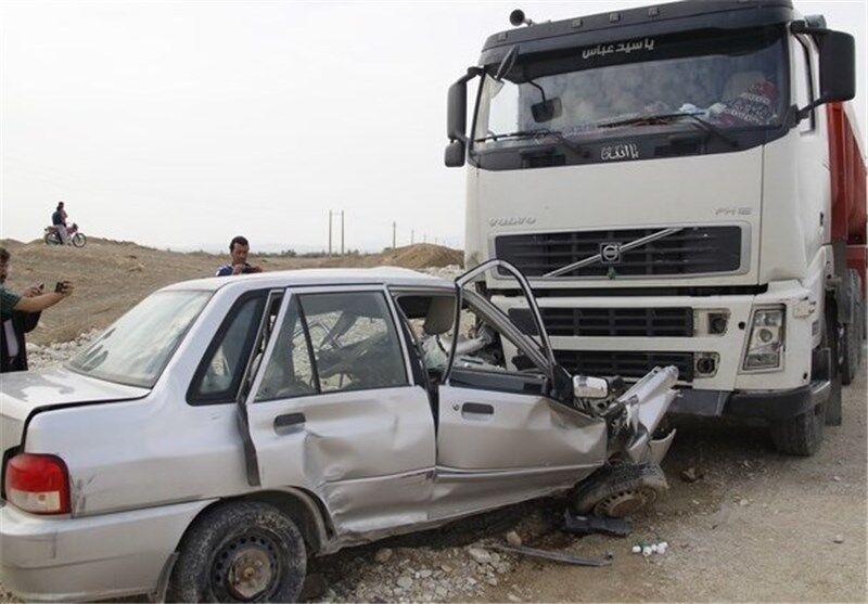 خبرنگاران تصادف پراید با تریلر در جاده ماهشهر - رامشیر با 2 کشته
