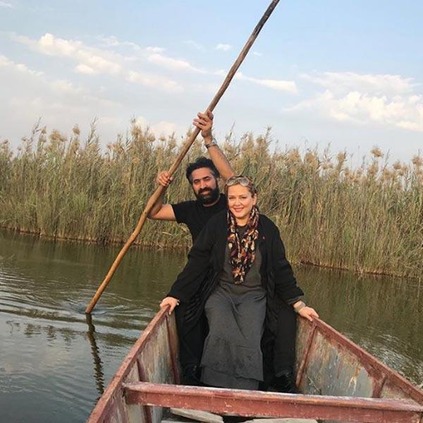 قایق سواری بهاره رهنما با همسرش