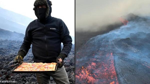 (ویدئو) پخت پیتزا با حرارت گدازه های آتشفشانی!